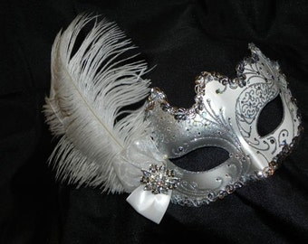 White and Silver Venetian Masquerade Bridal Mask - Made to Order