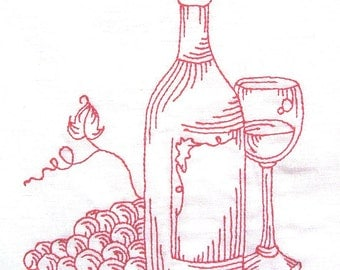 Wine 8 - embroidered flour sack towel