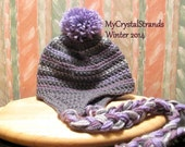 NEW - Buggs Crochet Ear Flap Hat in Grey, Plum, and Lavender