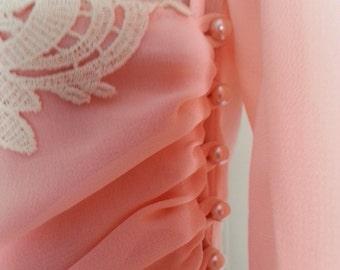 Vintage August Max Dress Peach Buttons Long Sleeve Asymmetrical Hem 1980s Crochet Lace Collar Wrap Dress