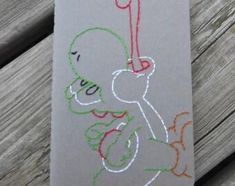 Hand Embroidered Moleskine Notebook - Yoshi
