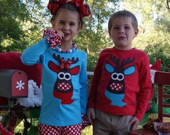 Moose Shirt for Boy or Girl ... Toddler Youth Sizes - Winter Christmas Clothing Siblings