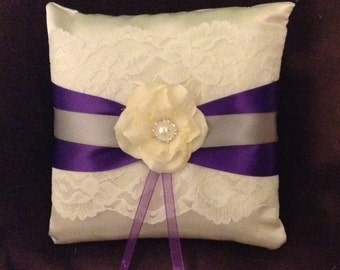 White or ivory custom made ring pillow lace with any color ribbon