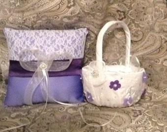Flower girl basket and pillow name embroided on basket any color