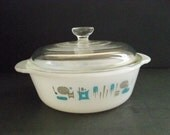 Vintage Fire King 1 Quart Casserole Blue Heaven Pattern