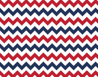 Riley Blake Fabric - 1 Yard of Small Chevron Holiday Colors in Patriotic
