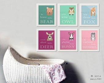 Woodland Nursery decor. Be Brave little bear, grow wise little owl, baby nursery art. SET OF 6 woodland typography prints by WallFry
