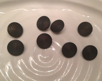 All the same button - 8 vintage brown plastic shank buttons