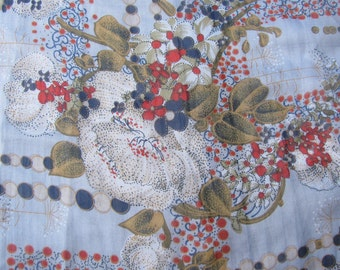 Two Yards of Vintage Printed Gray,Red,Navy Beige 100% Silk Chiffon Yardage from the 1960's