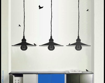 LAMP WALL DECAL : Industrial Enamel Warehouse Pendant Lamps, set of three. Vinyl, sticker, bulb, reflections
