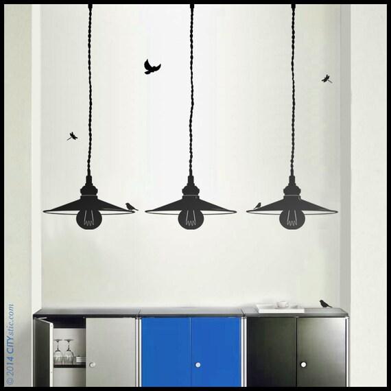 Lampe sticker mural lot de trois lampes l 39 abat jour en - Stickers style industriel ...