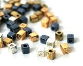 Heavy Metal Mix, metallic glass beads, 4mm cube, Miyuki cubes, 200 beads (827SB)