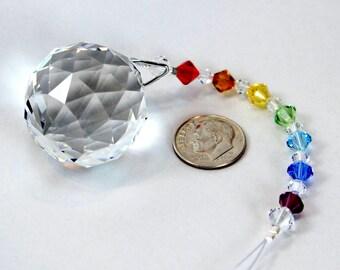 m/w Swarovski® 30mm Crystal Ball & Chakra Beaded Strand Sun Catcher Car Charm Rainbow Maker Home Ornament, Pearl Place N More