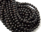 "Ebony Wood, 8mm, Very Dark Brown, Round, Near Black, Small, Smooth, Natural Wood Beads, 16"" Strand - ID 1045-VDK"
