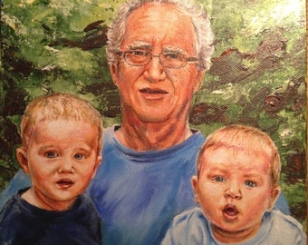 Custom Portrait Painting (Grandpa with grandsons) oil on canvas, accurate likeness of subject, family portrait art