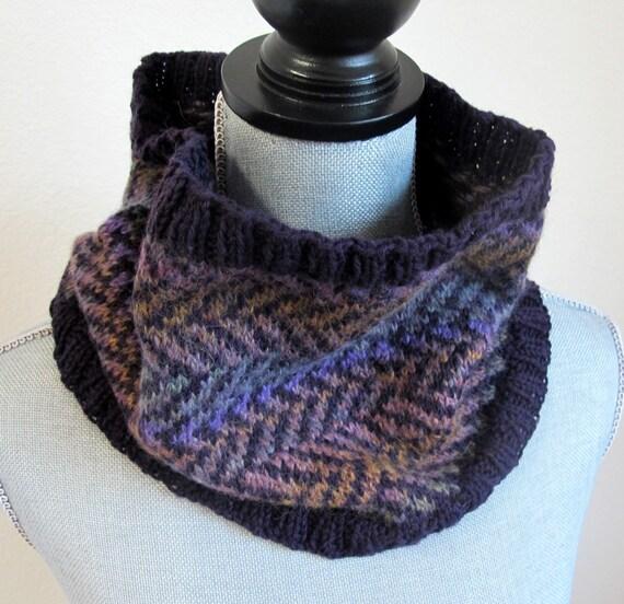 Knit Pattern Cowl Neck Warmer : Chevron Pattern Purple Knit Cowl Neck Warmer