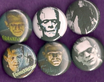 "FRANKENSTEIN 1"" Pins, Badges, Buttons Set of 6  horror Boris Karloff famous monsters"