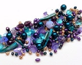 Purple, teal and gold glass bead mix / bead soup