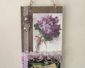 Mixed Media Assemblage -  Hanging Collage Altered Art -  Violets Lace - Wall Hanging  - Lily of the Valley - Lace