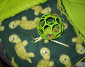 Baby Girl/Boy Activity Rag Quilt Reversible in lime green and sleepy Turtles