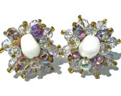 Purple & Iridescent Glass Cluster Clip On Earrings with Aurora Borealis Finish on Faceted and Nugget Beads White Center - Vintage Jewelry