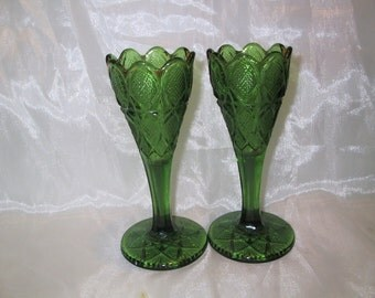 Pr Antique Green Eapg Vases Unknown pattern
