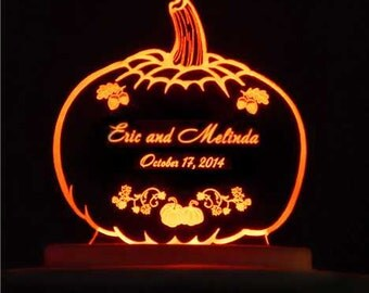 Pumpkin Autumn Wedding Cake Topper  - Engraved & Personalized - Acrylic - Light Option