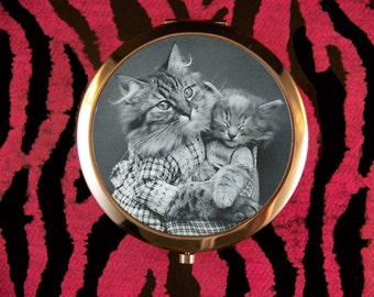 Compact Mirror Adorable Mother Cat with Kitten Vintage Harry Whittier Frees Kitsch Kawaii Unique Retro Vintage KidsStory Book