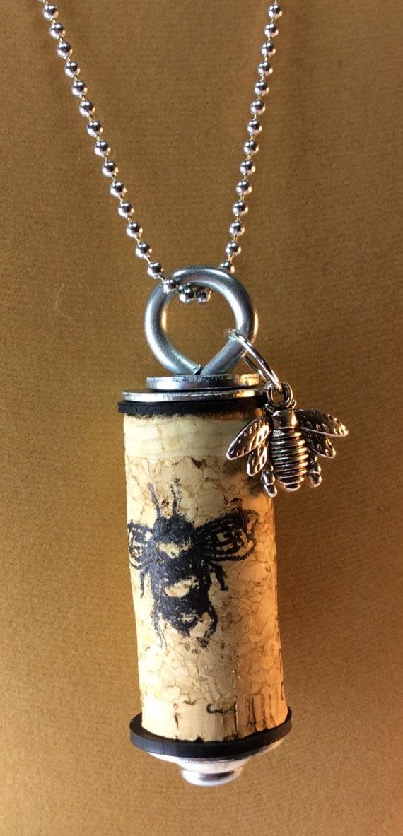 Wine Cork Necklace Crane Lake Wine Bumblebee Insignia