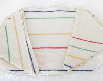 Vintage Striped Placemats and Napkins - Multi Color Napkin and Placemat Set -