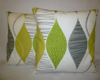 "Lime Green Cushion Pillow Covers PAIR 4 CHOICES Mix Match Designer Pillows Shams, Slips PAIR 16"" (40cm)"