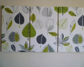 Big Lime Green Fabric Wall Art Funky Retro Designer cotton canvas-weight Tryptich Picture Hanging