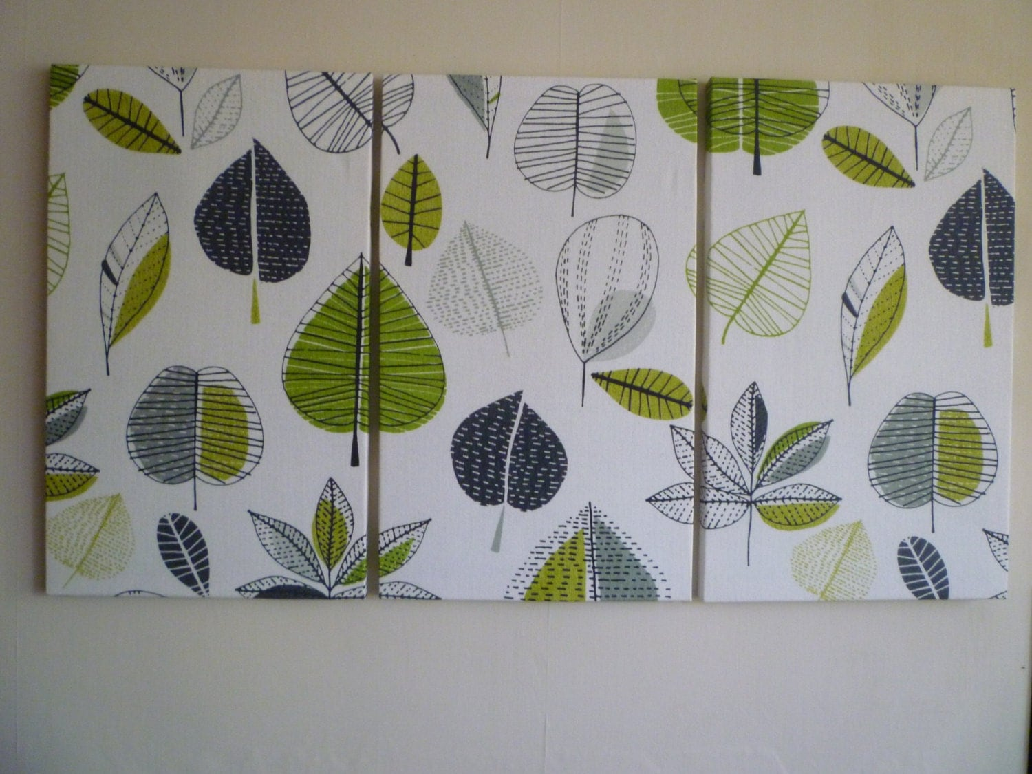 big lime green fabric wall art funky retro designer cotton canvas weight tryptich picture hanging