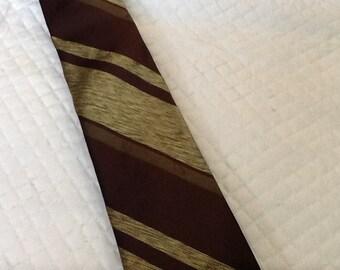Vintage 1950s Button Down Skinny Tie PRINCE CONSORT Wormser Cravat All Silk Diagonal Stripes Green Brown