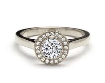 0.76 Carat White Gold Halo Diamond Engagement Ring