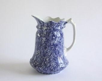 Vintage Blue Floral Staffordshire Pitcher by J. Kent, England