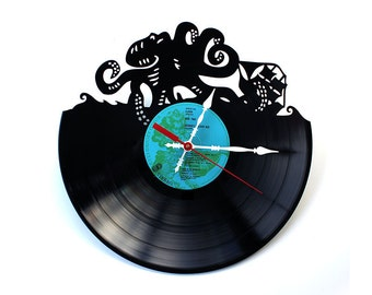 Kraken Record Clock Recycled Deep Sea Pirate Shipwreck Sunken Treasure Octopus