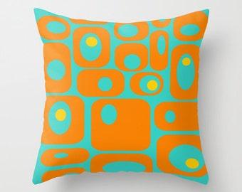 Modern Pillow,Mod Orange & Turquoise Pillow, Mid Century Modern Pillow, Geometric  Pillow, Modern Cushion, Cool Cushion, Retro Pillow