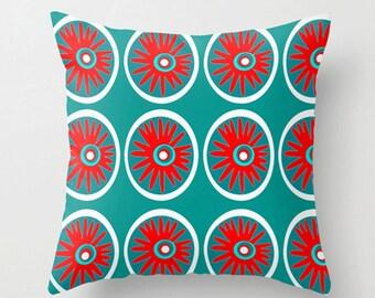 Modern Outdoor Pillow, Flower Outdoor Pillow, Mod Outdoor Cushion,  Mid Century Modern Outdoor Pillow, Blue  Outdoor Pillow