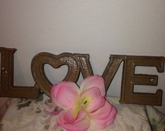 Cast Iron Wall Decor / LoVe Sign /  Pick your CoLOr. No distressing