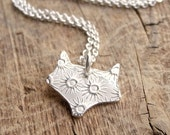 Little Fox Necklace, Foxy Lady, Fine Silver, Sterling Silver Chain, Ready To Ship