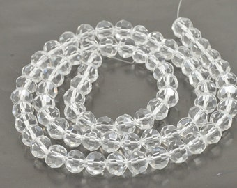 """One strand 72Beads Faceted Clear Glass Crystal Gemstone Beads Strand 8mm 20"""""""
