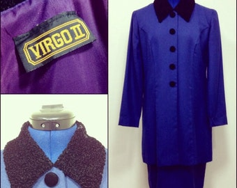 Vintage 80s Virgo II Blue Skirt Suit Dress M