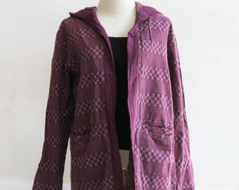 J2, Butterfly Pea Comfort Hood Purple Cotton Jacket, violet jacket