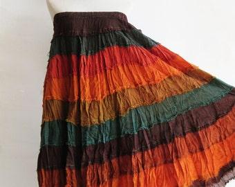 S3, Wavy Hippie Colorful Orange Cotton Skirt 4