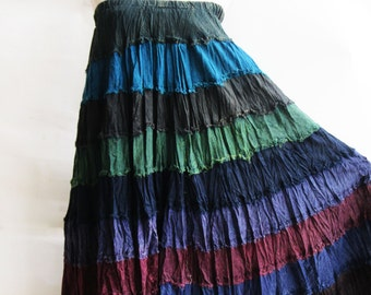 S3, Wavy Hippie Colorful Blue Cotton Skirt 2