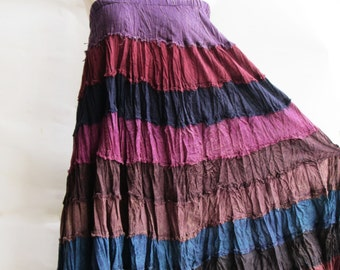 S3, Wavy Hippie Colorful Purple Cotton Skirt 2, violet skirt