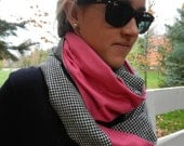 Infinity Scarf - Black White Houndstooth w Hot Pink Flannel