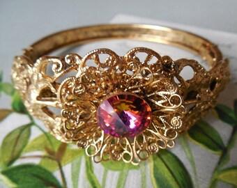 Gold Filigree Hinged Bracelet w/ Center Rivoli Stone