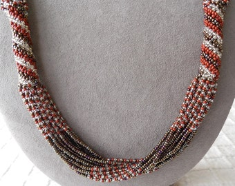 15 Strand Fall Tones Glass Bead Necklace